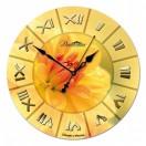 """Настенные часы из стекла Династия 01-021 """"Желтый цветок"""""""