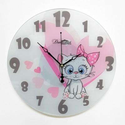 """Настенные часы из стекла Династия 01-073 """"Белый котенок"""""""