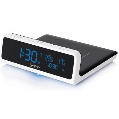 Oregon QW201+QW218 Беспроводное зарядное устройство c часами и термометром + специальный чехол-переходник для iPhone 4 и 4S