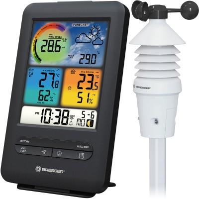 Bresser «3 в 1» Wi-Fi метеостанция с датчиком ветра и цветным дисплеем, профессиональная