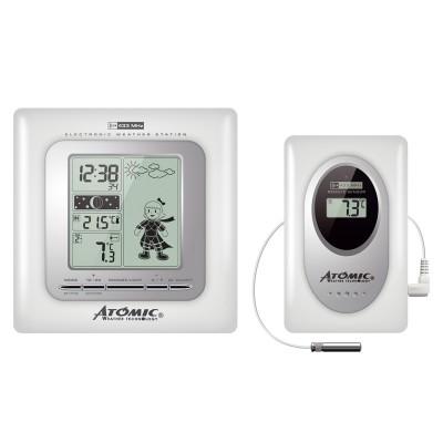 Atomic W839009-White Электронная цифровая домашняя метеостанция
