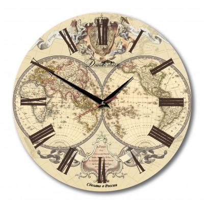 """Настенные часы Династия 02-005 """"Карта Мира"""""""
