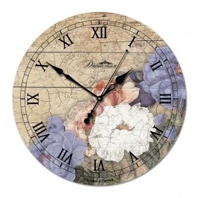 """Настенные часы из дерева Династия 02-009 """"Цветы 1"""""""